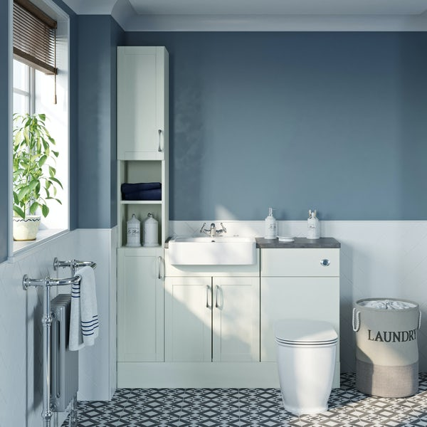 The Bath Co. Newbury white tall fitted furniture combination with grey worktop