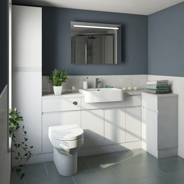Orchard Wharfe white corner small storage fitted furniture pack with white worktop