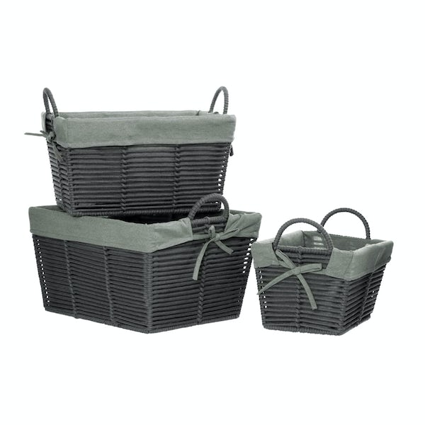 Set of 3 tapered grey storage baskets with removable liner