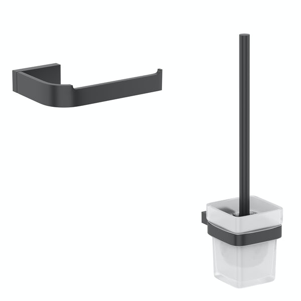 Mode Spencer black 2 piece toilet accessory pack