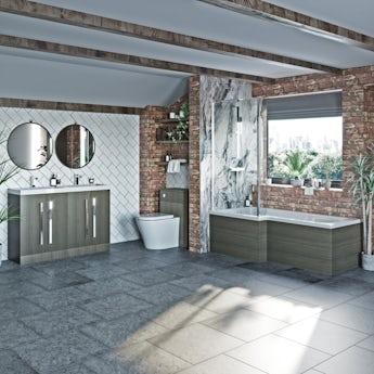 Orchard Wye walnut left handed shower suite 1700 x 850
