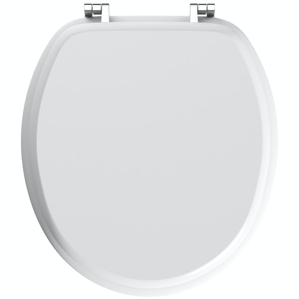 Celmac Wirquin wooden toilet seat with stainless steel hinge