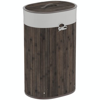 Accents Natural bamboo dark brown oval laundry basket