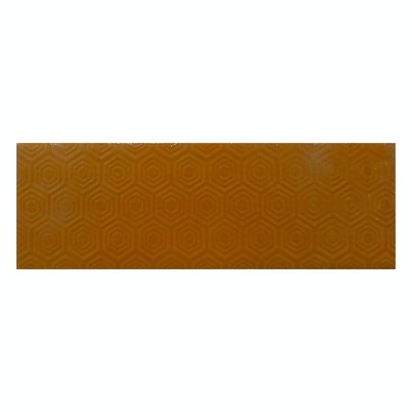 Zenith orange patterned gloss wall tile 100mm x 300mm