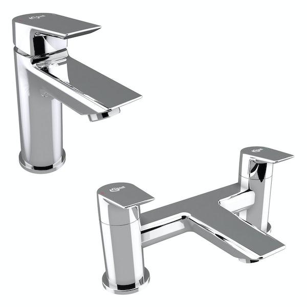 Ideal Standard Concept Air complete wood light grey and left hand Idealform Plus shower bath suite 1700 x 800