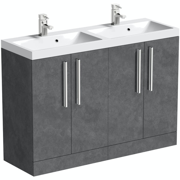 Orchard Kemp floorstanding double vanity unit and basin 1200mm with tap