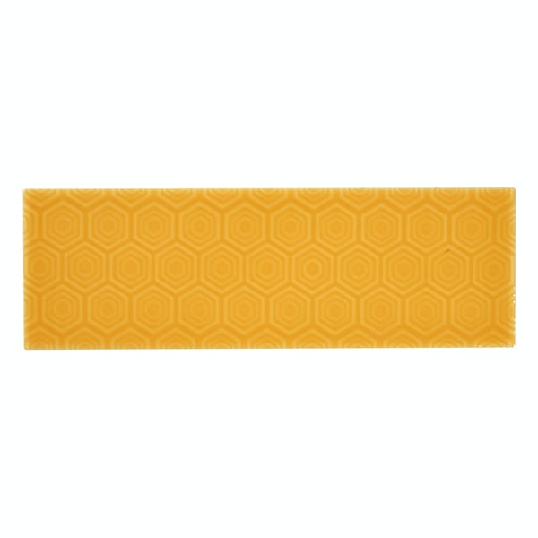 Zenith yellow patterned gloss wall tile 100mm x 300mm