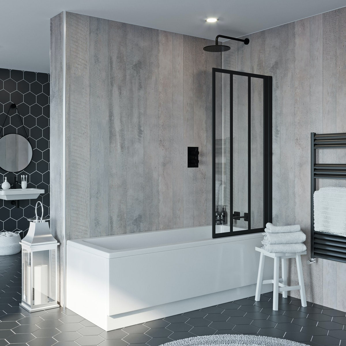 Hinged Shower Screen >> Jacuzzi Loft black framed hinged shower bath screen | VictoriaPlum.com