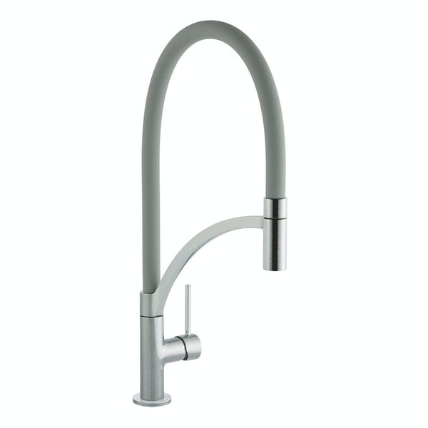 Schon WRAS Lomond brushed pull out spray tap with grey hose