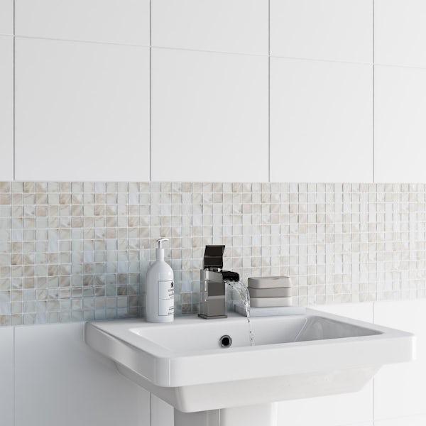 British Ceramic Tile Mosaic pearl tile 300mm x 300mm - 1 sheet