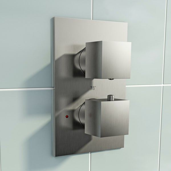 Mode Spencer thermostatic twin valve brushed nickel shower set