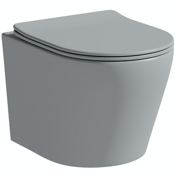Mode Orion complete bathroom suite with contemporary stone grey wall hung toilet and freestanding bath