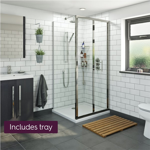 Orchard 6mm bifold shower enclosure with stone tray