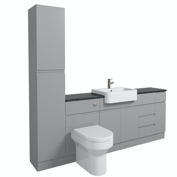 Orchard Wharfe slate matt grey straight large storage fitted furniture pack with black worktop