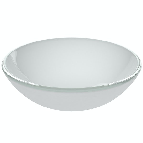 Mode Mackintosh painted white glass countertop basin with waste