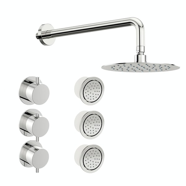 Mode Hardy thermostatic shower valve with body jets and wall shower set