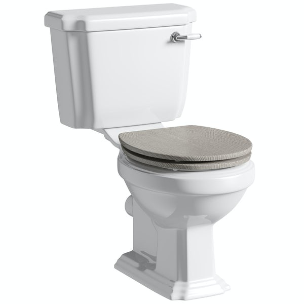 Dulwich close coupled toilet with soft close wooden toilet seat grey oak effect with pan connector