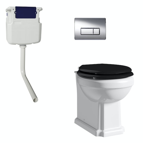 The Bath Co. Camberley back to wall toilet with black soft close seat, concealed cistern and push plate