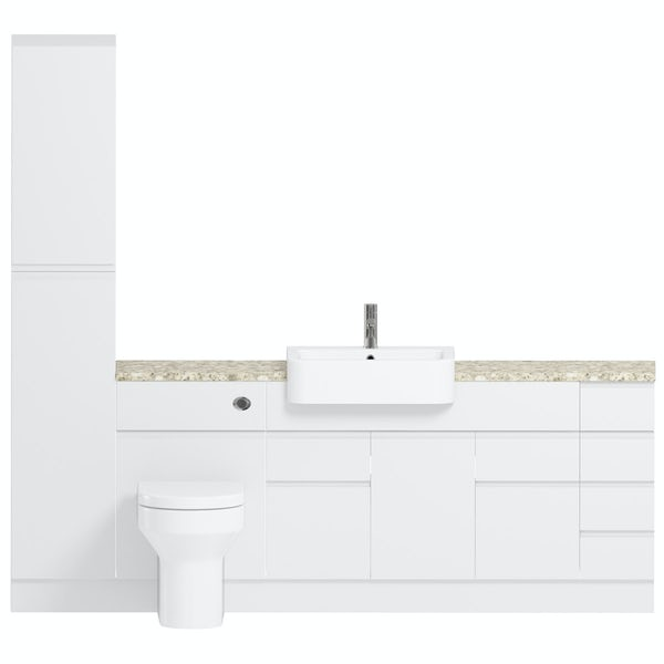 Reeves Wharfe white straight medium drawer fitted furniture pack with beige worktop