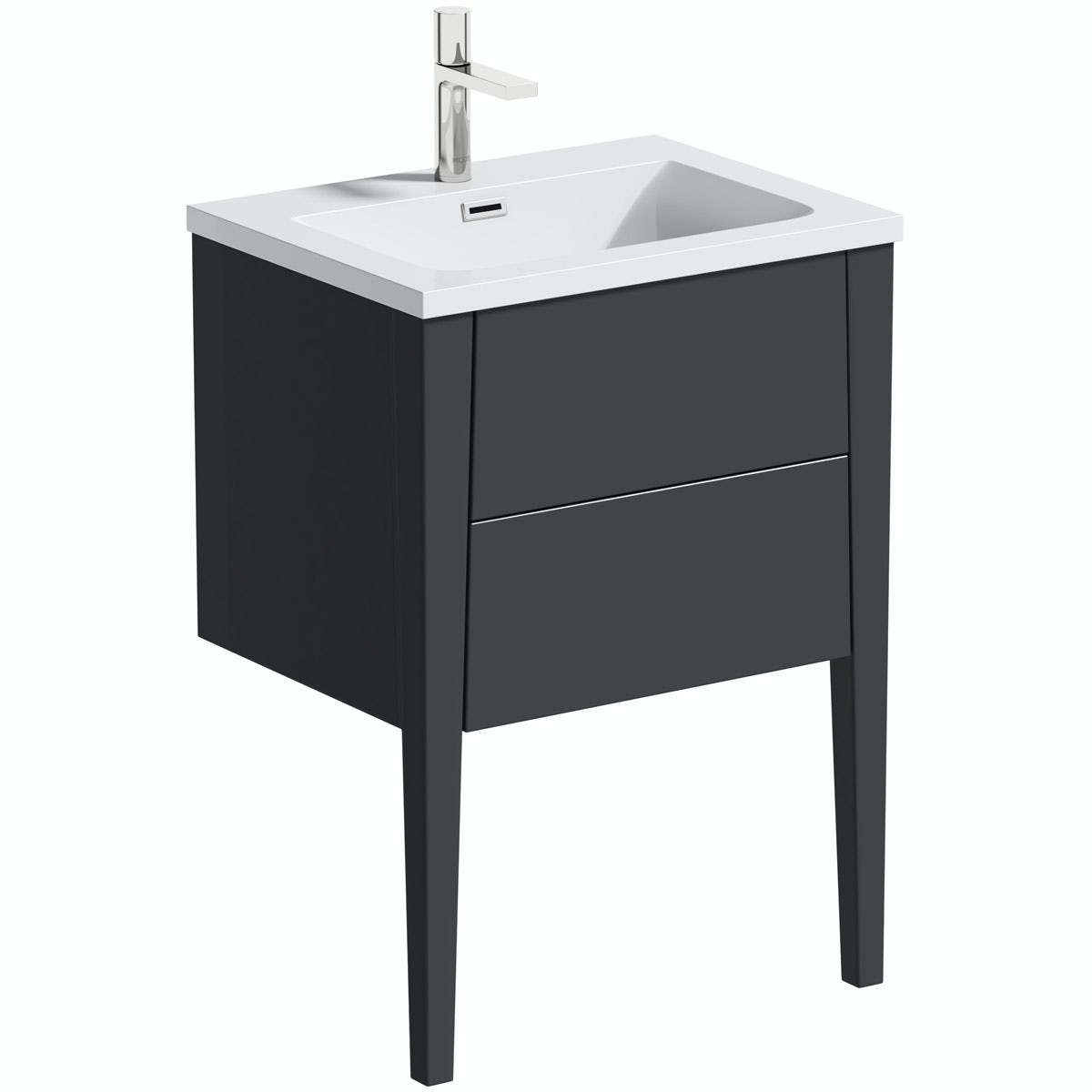 Mode Hale grey gloss wall hung vanity unit and basin 600mm