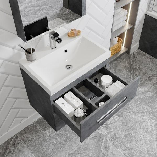 Orchard Kemp riven grey wall hung vanity unit and basin 600mm
