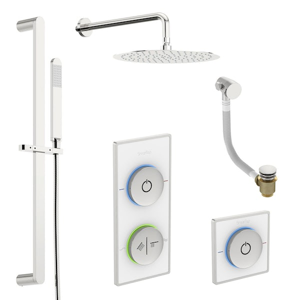 SmarTap white smart shower system with complete round wall shower bath set