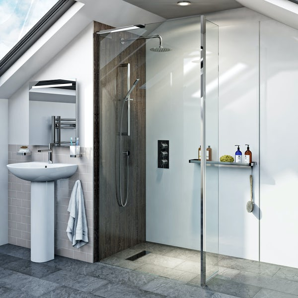 Mode 8mm wet room glass panel with hinged return panel