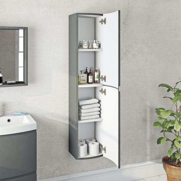 Mode Harrison slate gloss grey wall hung cabinet 1400 x 300mm