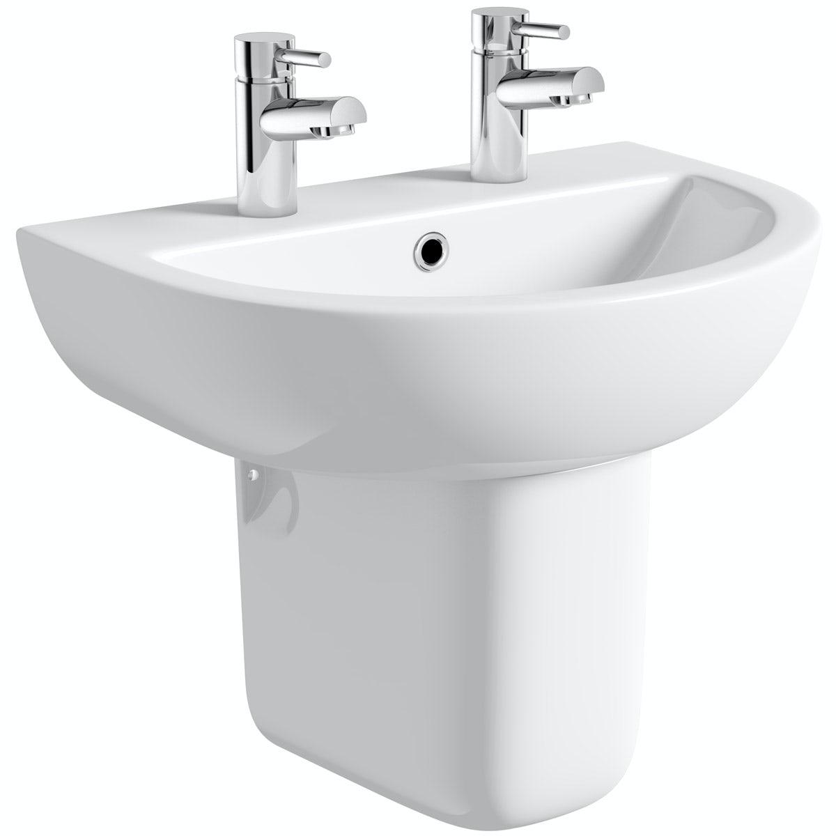 Orchard Elena 2 tap hole semi pedestal basin 550mm