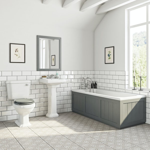 The Bath Co. Dulwich stone grey bathroom suite with straight bath 1700 x 700mm