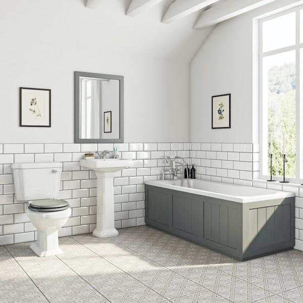 The Bath Co. Dulwich stone grey bathroom suite with straight bath 1700 x 700mm