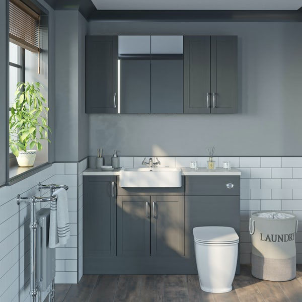 The Bath Co. Newbury dusk grey small fitted furniture & storage combination with white worktop