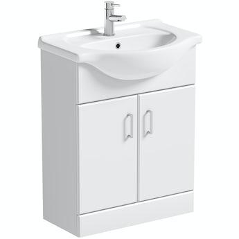 Orchard Eden white floorstanding vanity unit and ceramic basin 650mm