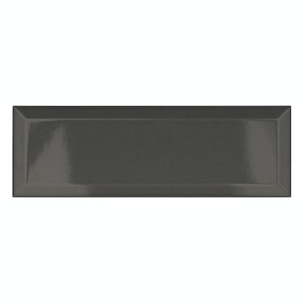 Maxi Metro dark grey bevelled gloss wall tile 100mm x 300mm