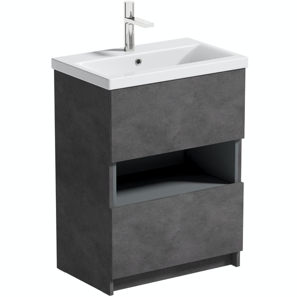Mode Tate II riven grey floorstanding vanity unit and ceramic basin 600mm