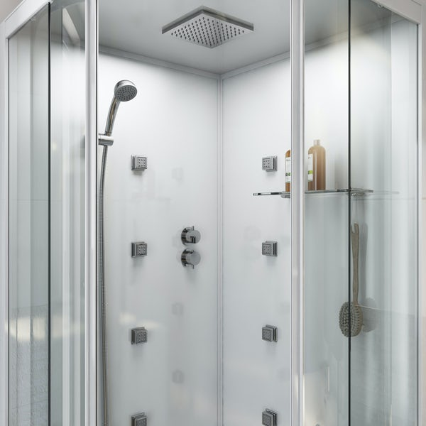 Mode quadrant white glass backed hydro massage shower cabin 900 x 900