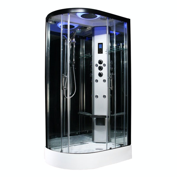Insignia Premium black framed offset quadrant right handed hydro-massage shower cabin 1100 x 700