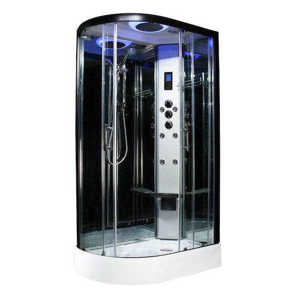 Insignia Premium black framed offset quadrant right handed hydro-massage shower cabin 1100 x 700