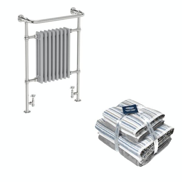 The Bath Co. Dulwich satin grey traditional radiator 952x659 with Silentnight Zero twist grey 4 piece towel bale