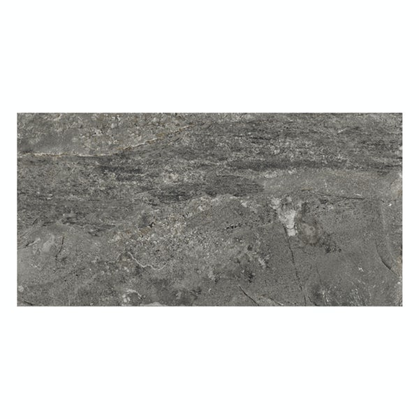 Ontario anthracite stone effect matt wall and floor tile 308mm x 615mm