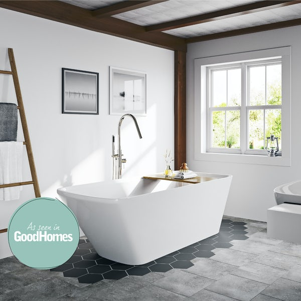 Mode Foster freestanding bath with bamboo bath bridge offer pack