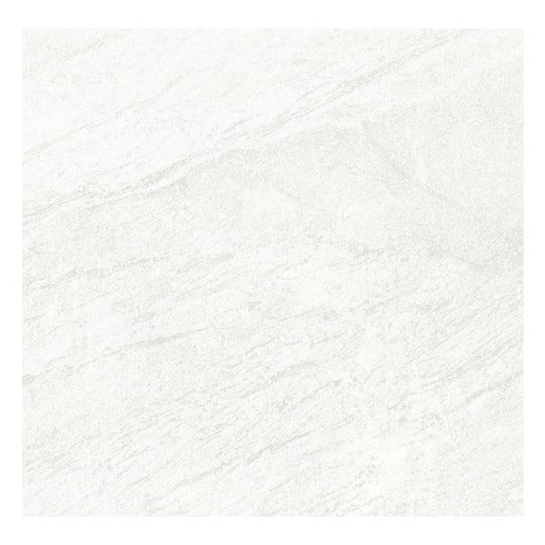 Laguna white stone effect matt wall and floor tile 600mm x 600mm