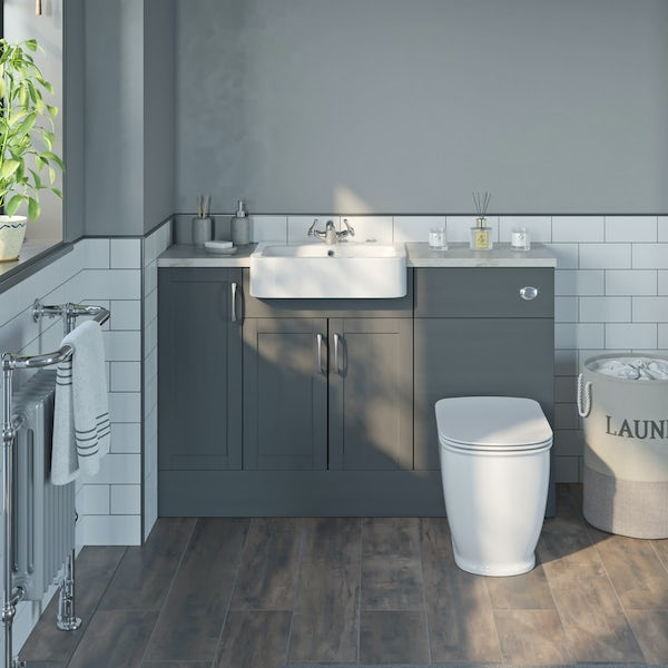 The Bath Co. Newbury dusk grey small fitted furniture combination with beige worktop