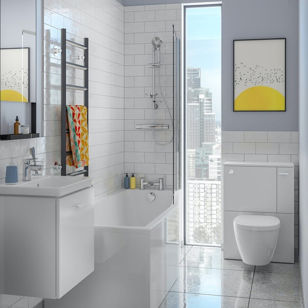 Ideal Standard Concept Space white unit with wall hung toilet and soft close toilet seat