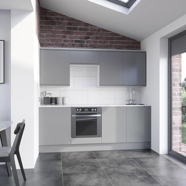 Schon Chicago light grey slab kitchen base and wall unit bundle