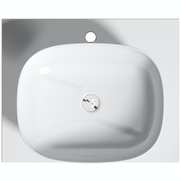 Mode Hale grey gloss wall hung vanity unit with ceramic countertop and basin 600mm