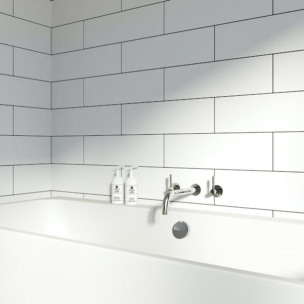 British Ceramic Tile Maxi Metro Pure white matt tile 148mm x 498mm