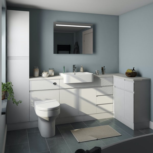 Orchard Wharfe white corner large storage fitted furniture pack with white worktop