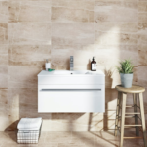 British Ceramic Tile Earth Marble Effect Toffee Matt 298mm X 498mm