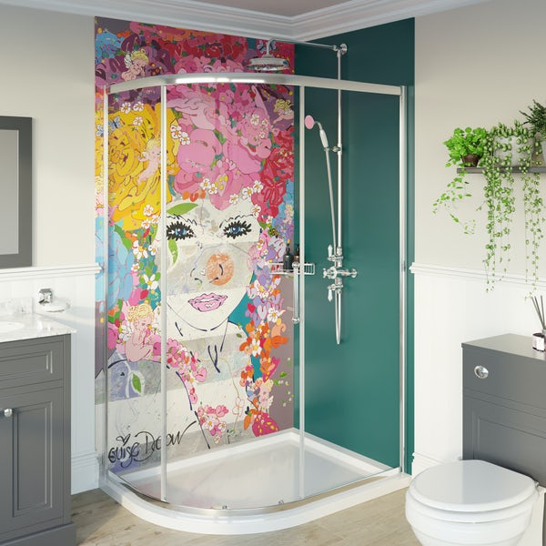Louise Dear The Serenade Turquoise acrylic shower wall panel pack with right handed offset quadrant enclosure